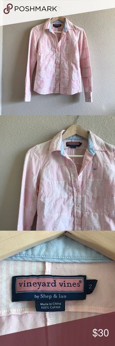 Vineyard Vines Patchwork Button Down Excellent used condition. No flaws! 100 % Cotton. 17 pit to pit. Little less than 24 inches length. Vineyard Vines Tops Button Down Shirts