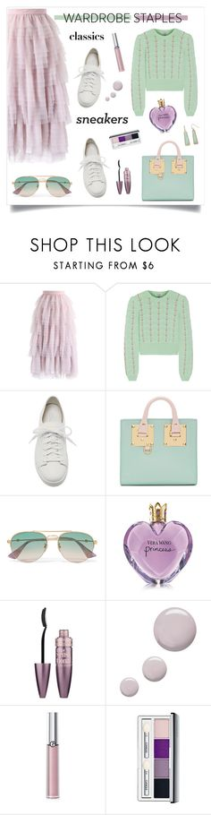 """So Fresh: White Sneakers"" by alinepinkskirt on Polyvore featuring Chicwish, Miu Miu, Santoni, Sophie Hulme, Gucci, Vera Wang, Maybelline, Topshop, Giorgio Armani and Clinique"