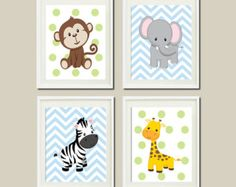 JUNGLE Nursery Wall Art ELEPHANT Giraffe Zebra Monkey Set of 4 Prints Zoo Safari Animals Baby Boy Decor Wall ART Jungle Decor Bedding Pic