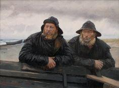 """Fishermen by Michael Peter Ancher, Danish Impressionist painter. Sea Captain, Impressionist Artists, Portraits, Am Meer, Fishing Villages, Skagen, Scandinavian, Old Things, Canvas"