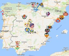Location of leading of Spanish clubs. Toulouse, A Team, Team Logo, Liga Soccer, Fifa, Map Of Spain, European Soccer, Stamford Bridge, World Football