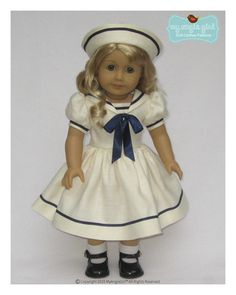 My Angie Girl Sailorette Doll Clothes Pattern 18 inch American Girl Dolls | Pixie Faire