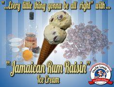 """""""Jamaican Rum Raisin"""" Ice Cream is delicious with big juicy rum soaked raisins! Jamaica, you're calling me."""