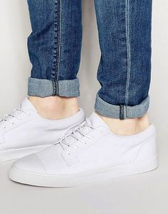 ASOS Lace Up Sneakers In White With Toe Cap - White
