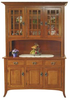 Can pick wood type and stain color.  Pretty hardware and legs.  The Open Mission hutch is shown in Quarter Sawn White Oak with a Michael's Cherry stain.