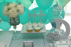 Modern Seafoam Elephant Baptism - Pretty My Party