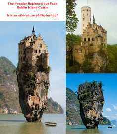 Someone created this image for a contest on www.worth1000.com & probably had no intention of pinning to Pinterest. Unfortunately, someone did pin it and now it is misleading people to believe it really exists.  If you want to discover the truth, check out my blog.  At least if someone sees this fake labeled as a castle in Ireland, then they might at least realize that they cannot visit this location and see a castle atop a rock pillar in Ireland.