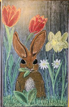 #Waldorf #Waldorfschule #3rdgrade #waldorfschool #Tafelbild #Frühling #spring #Ostern #easter #chalkdrawing Chalk Drawings, Spring, Painting, Art, Cute Art, Pet Pictures, Island, Easter Activities, Animales