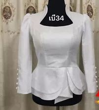 Laos Thai Traditional Synthetic Silk Top blouse Outfits any color available TH Blouse Styles, Blouse Designs, African Blouses, Thai Fashion, Formal Tops, Kurti Designs Party Wear, Thai Dress, African Dresses For Women, Blouse Outfit