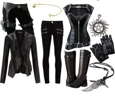 Love everything but the gloves - Hunter outfit - - Kostüm Steampunk Fashion, Gothic Fashion, Look Fashion, Punk Outfits, Girl Outfits, Fashion Outfits, Zombie Apocalypse Outfit, Mode Emo, Mode Rock