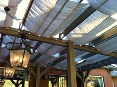 Kat Torello's latest creation of Canvas Tarps as a Shade cover. Outdoor Spaces, Outdoor Living, Outdoor Decor, Eclectic Style, Backyard Ideas, Porch, Shades, Gardening, Patio
