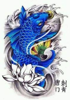 Blue Koi symbolizing upstream perseverance as the 'son' ei masculinity Koi Dragon Tattoo, Pez Koi Tattoo, Tatto Koi, Koi Tattoo Design, Koi Fish Drawing, Fish Drawings, Japanese Tattoo Art, Japanese Tattoo Designs, Carpe Coi