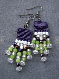 Colorful micromacrame beaded earrings