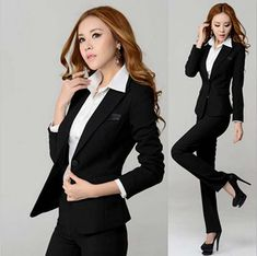 Ready Made Women Ladies Business Office Tuxedos 2 Piece Jacket+Pants Suits Business Dresses, Business Casual Outfits, Office Outfits, Business Style, Business Wear, Office Attire, Office Wear, Work Outfits, Pantsuits For Women