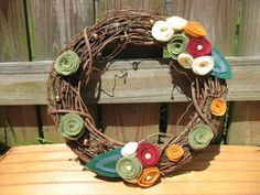 Rustic Holiday Time Wreath -Holiday Grapevine Wreath- Holiday Decor--14 inch Grapevine and Felt Flower Wreath. $30.00, via Etsy.