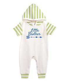 $19.99 marked down from $30.95! Ivory & Green Stripe 'Little Brother' Hooded Playsuit - Infant #littlebrother #brother #baby #infant #zulilyfinds