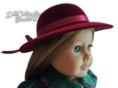 "Burgundy Derby Flocked Velvet for 18"" American Girl Doll Clothes #DollClothingAccessories"