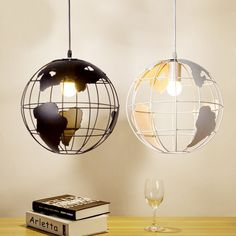 (62.51$)  Watch now - http://aikjn.worlditems.win/all/product.php?id=32744652772 - single head modern creative  map globe black/white pendent lamp for dining room fashion bedroom decoration wedding lamp A104