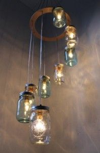 Would look gorgeous outside at night! Solar lights in mason jars!