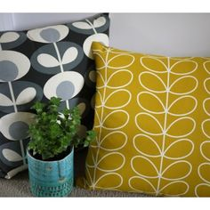 home accessories grey Orla Kiely grey and yellow cushion covers and home accessories. Yellow And Grey Cushions, Yellow Cushion Covers, Handmade Cushion Covers, Yellow Pillows, Handmade Cushions, Orla Kiely Cushions, Orla Kiely Fabric, Cushions On Sofa, Home Decor Accessories