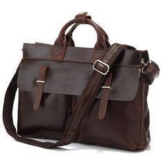 Image of Vintage style Leather Briefcase / Messenger Bag (P02)
