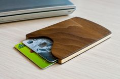 Handmade Wood Business Card Holder. Walnut and by NoLogoDisigns
