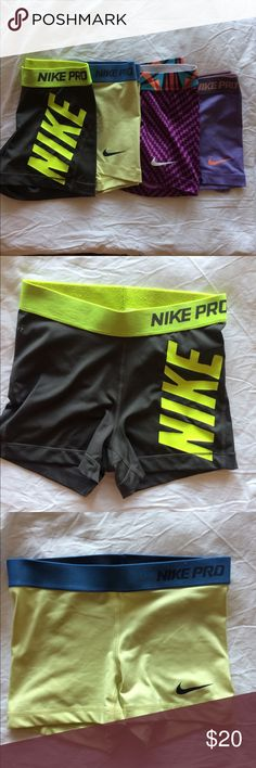 NIKE PRO spandex shorts A bundle of 4 Nike Pro 2.5 inch shorts all are in great condition and they are size XS except the grey ones which are S Nike Shorts