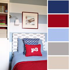 boy bedroom ideas pictures year old the best benjamin moore paint colours for boys rooms cartoon wall painting in cool room colors guys small shared es kids blue and red green grey teenage Boys Bedroom Colors, Blue Bedroom Decor, Bedroom Red, Bedroom Color Schemes, Kids Bedroom, 8 Year Old Boys Bedroom Ideas, Boy Room Color Scheme, Preteen Boys Bedroom, Blue Bedrooms