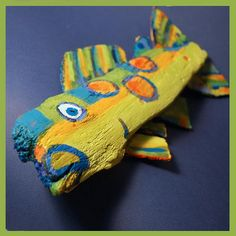 Whimsical Funky Fish Art - Colorful Painted Recycled Wood 12 Inch long Ready to Hang Door and Wall Decor
