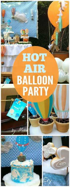 This vintage hot air balloon party is for a one year old! See more party ideas at CatchMyParty.com!