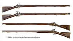 Long land pattern musket. Better known as the 'Brown Bess. In service in various variants from 1722 to 1838 with the British army. A black powder, muzzle loading, 0.69 cal (18mm) flintlock musket.