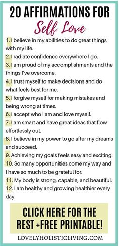 Looking to build your self esteem and love yourself fully? Try these 20 self love affirmations to train your subconscious brain for more self love. PLUS grab your self love affirmations free printable! Self Esteem Affirmations, Positive Affirmations Quotes, Affirmations For Women, Morning Affirmations, Law Of Attraction Affirmations, Affirmation Quotes, Affirmations Confidence, Building Self Confidence, Self Confidence Tips