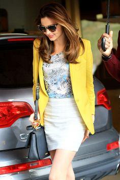 floral Erdem blouse, tailored Stella McCartney blazer and Rag & Bone pencil skirt