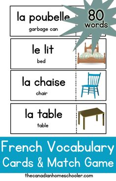French Vocabulary Cards and Matching Game Learning French For Kids, Spanish Language Learning, Learning Italian, French Games For Kids, French Flashcards, French Worksheets, French Lessons, Spanish Lessons, Vocabulary Cards