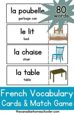 French / English Vocab Cards {Printable}