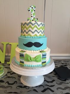 Little Man 1st Birthday Cake!!! By BrittanyLeighCakes.com  Mustache , first birthday, little man , bow tie