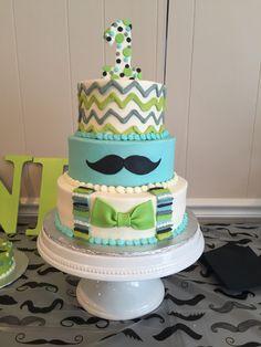 Little Man 1st Birthday Cake!!! By BrittanyLeighCakes.com  Mustache , first birthday, little man , bow tie