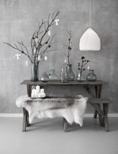 ♅ Dove Gray Home Decor ♅ grey entry table vignette