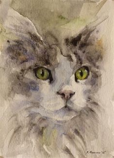 Daily Paintworks - - Original Fine Art for Sale - © Katya Minkina Watercolor Cat, Watercolor Animals, Watercolor Paintings, Watercolors, Cat Drawing, Painting & Drawing, Drawn Art, Illustration Art, Illustrations