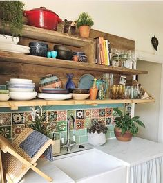 30 Designs Perfect for Your Tiny Kitchen What's Decoration? Decoration is the art of decorating the inner and exterior … Boho Kitchen, Kitchen Styling, Kitchen Tiles, Mexican Tile Kitchen, Eclectic Kitchen, Mexican Tiles, Kitchen Utensils, Design Kitchen, Kitchen Sink