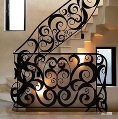 Spiral Stairs Design, Staircase Railing Design, Iron Staircase, Stair Handrail, Staircases, Tile Stairs, Metal Stairs, House Stairs, Grill Gate Design