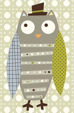 Grey Whimsy Owl Art Print
