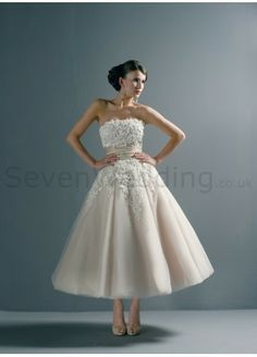 Silk Dupioni Strapless Tea-length Wedding Dress