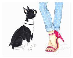 Pink Boston Terrier Art Print