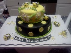 Gender Reveal Cake. Like the bottom and the bee's. Do not like the top of the cake