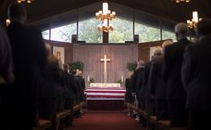 The flag-draped casket of U.S. Army Maj. Gen. Harold J. Greene at the head of the chapel during a military funeral in his honor at Joint Base Myer-Henderson Hall's Memorial Chapel in Arlington, Va., Aug. 14, 2014.  Greene is the highest-ranking service member killed in the wars in Iraq and Afghanistan.  (U.S. Army photo by Staff Sgt. Bernardo Fuller)