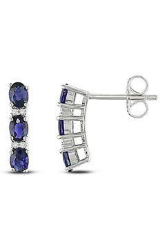Blue Sapphire & Diamond Silver Earrings