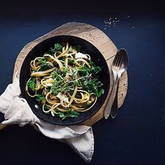 fettuccini with kale, caramelized onions & half melted marinated goat cheese