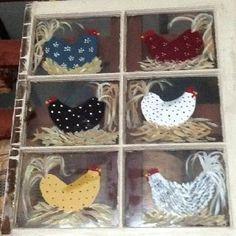 Painted window by original pinner Old Window Art, Window Pane Art, Old Window Frames, Window Ideas, Chicken Coop Decor, Chicken Crafts, Chicken Art, Chicken Outline, Chicken Houses