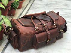 24 Inch Dark Brown Genuine Buffalo Leather Weekend Bag   Etsy Mens Weekend Bag, Leather Duffle Bag, Duffel Bag, Mens Travel Bag, Travel Bags, Personalized Gifts For Men, Dark Brown Leather, Solo Travel, Air Travel